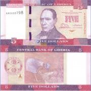 Либерия бона (31) 5 долларов 2016