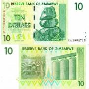 Зимбабве бона 10 долларов 2007