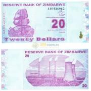 Зимбабве бона 20 долларов 2009