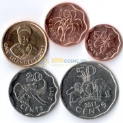 Свазиленд 2007-2011 набор 5 монет