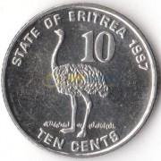 Эритрея 1997 10 центов Страус
