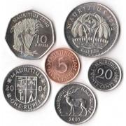 Маврикий 1992-2007 набор 6 монет