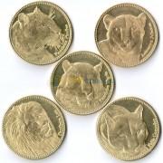 Сомалиленд 2016 набор 5 монет Дикие кошки