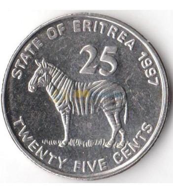 Эритрея 1997 25 центов Зебра