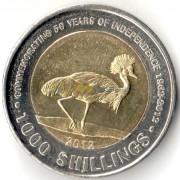 Уганда 2012 1000 шиллингов Журавль