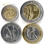 Кения 2018 набор 4 монеты Животные