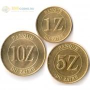 Заир 1987-1988 набор 3 монеты