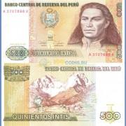 Перу бона (135) 500 инти 1987 Индеец