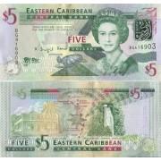 Восточные Карибы бона 5 долларов 2008