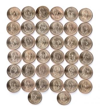 США Набор 39 монет 1 доллар Президенты США