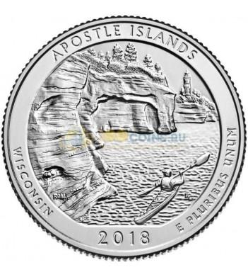 США 2018 Квотер национальные парки №42 Апостольские острова (P)