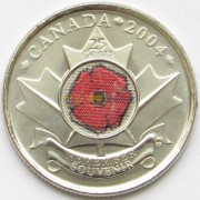 Канада 2004 25 центов 85 лет окончания войны