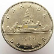 Канада 1969 1 доллар Каноэ