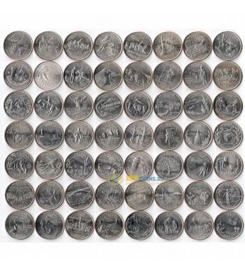 США Набор 56 монет Квотеры Штаты и территории
