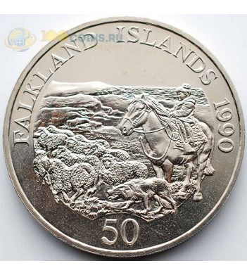 Фолклендские острова 1990 50 пенни Лошадь и стадо овец