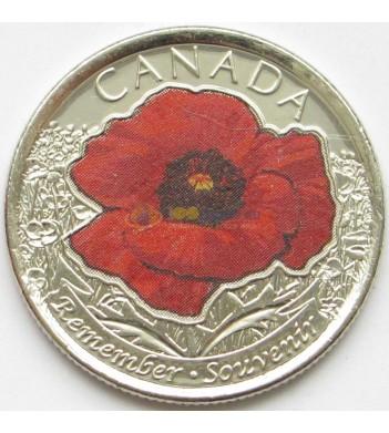 Канада 2015 25 центов 100 лет Первой Мировой войны цветная