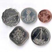 Багамские острова 2010-2015 Набор 5 монет