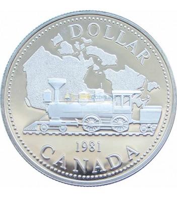 Канада 1981 1 доллар Паровоз - железной дорога (proof)