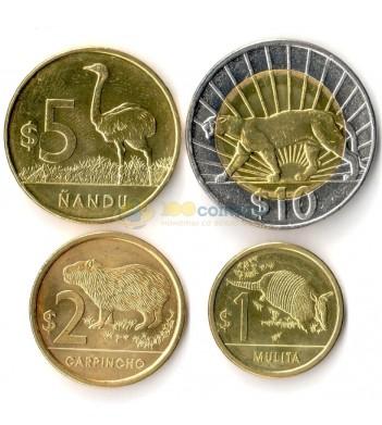 Уругвай 2011-2015 набор 4 монеты животные