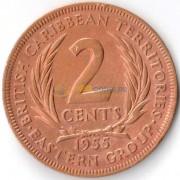 Восточные Карибы 1955 2 цента
