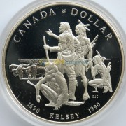 Канада 1990 1 доллар Путешествие Генри Келси (proof)
