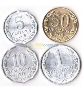 Чили 1975-1979 набор 4 монеты