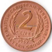 Восточные Карибы 1957 2 цента