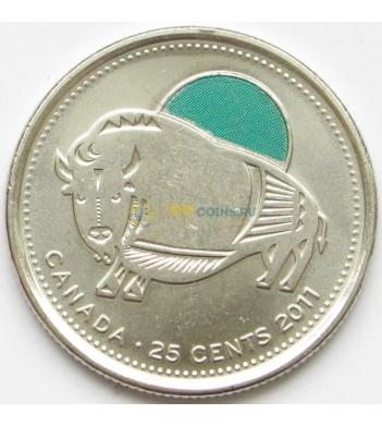 Канада 2011 25 центов Лесной бизон цветная