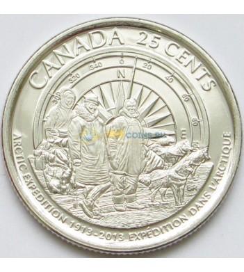 Канада 2013 25 центов Арктическая экспедиция (матовая)