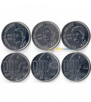 Бразилия 1988 Набор 3 монеты 100 крузадо Отмена рабства