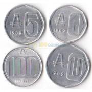 Аргентина 1989-1990 набор 4 монеты