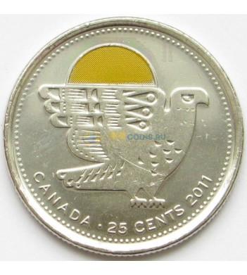 Канада 2011 25 центов Сапсан цветная