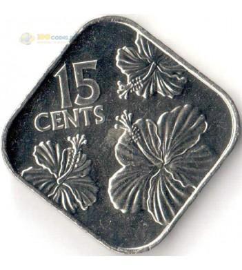 Монета Багамские острова 2018 15 центов Гибискус