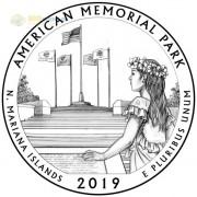 США 2019 Квотер №47 Американский мемориальный парк (S)