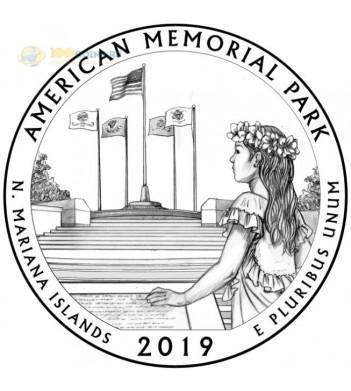 Монета США 25 центов 2019 квотер №47 Американский мемориальный парк (S)