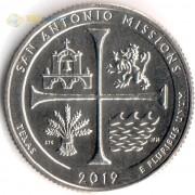 США 2019 Квотер №49 Парк Сан-Антонио (S)