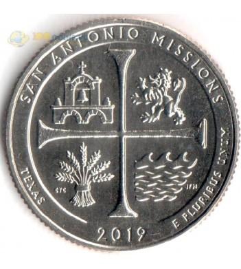 Монета США 25 центов 2019 квотер №49 Парк Сан-Антонио (S)