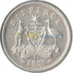 Австралия 1951 6 пенсов (серебро)
