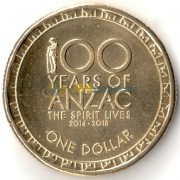 Австралия 2017 1 доллар 100 лет Анзак
