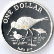 Новая Зеландия 1985 1 доллар Черный ходулочник (серебро)