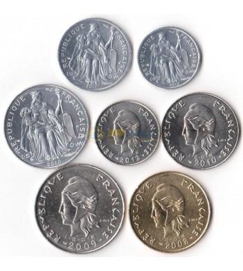 Новая Каледония 2008-2012 набор 7 монет