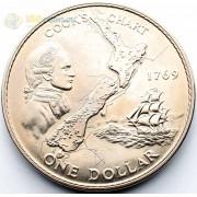 Новая Зеландия 1969 1 доллар карта Кука