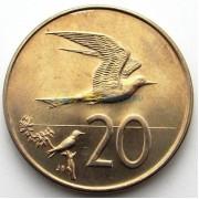 Острова Кука 1973 20 центов Белая крачка