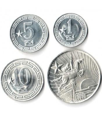 Северная Корея 1959-1978 Набор 4 монеты Одна звезда