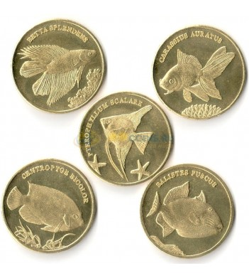 Малуку 2016 набор 5 монет Экзотические рыбы