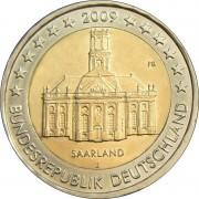Германия 2009 2 евро Саарланд Саарбрюккен D