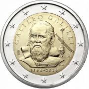 Италия 2014 2 евро Галлилео Галлилей