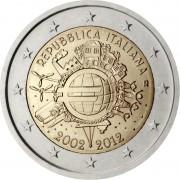 Италия 2012 2 евро 10 лет Евро