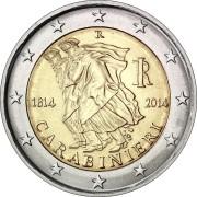 Италия 2014 2 евро 200 лет карабинерам