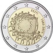 Эстония 2015 2 евро 30 лет флагу Европейского союза